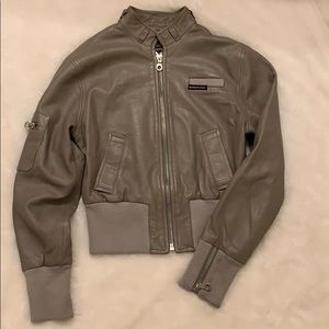 Gray Leather Members Only Jacket